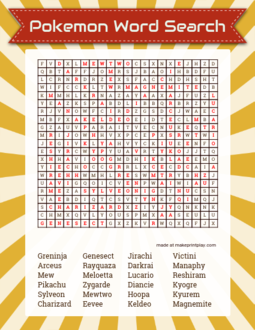 Pokemon Word Search
